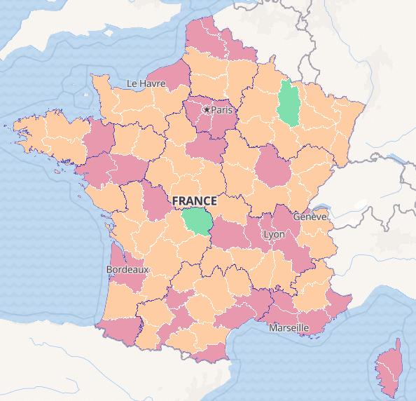 Covid kaart Frankrijk